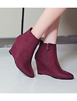 Women's Boots Comfort Microfibre Fleece Spring Casual Burgundy Pool Black Flat