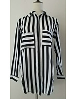 Women's Going out Casual/Daily Work Sexy Vintage Street chic Shirt,Striped Square Neck Long Sleeve Polyester