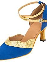 Women's Modern Latin/Ballromm Dance Shoes Flocking Sparkling Glitter  Professional Sequin Buckle Heel Blue Customizable