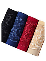 4Pcs/Lot Women's Fashion Sexy Hollow-out Briefs Lace Cotton Spandex Underwear