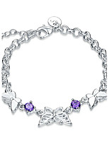 Exquisite Silver Plated Purple Crystal Sweet Triple Butterfly Chain & Link Bracelets Jewellery for Women Accessiories