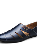 Men's Loafers & Slip-Ons Comfort Hole Shoes Cowhide Spring Summer Casual Office & Career Comfort Hole Shoes Flat HeelBlack Light Brown