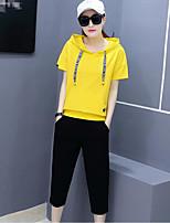 T-shirt Pantalone Completi abbigliamento Da donna Quotidiano Sport Sportivo Primavera Estate,Tinta unita Manica corta