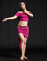 Dança do Ventre Roupa Mulheres Treino Modal Lantejoulas 4 Peças Manga Curta Caído Saias Blusas Cinto Calções