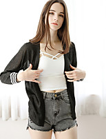 Women's Office/Career Casual Short Cardigan,Solid V Neck Long Sleeve Cotton Summer Thin Micro-elastic