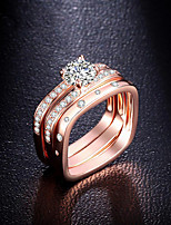 Band Rings Fashion Classic Elegant Rose Gold Silver Cubic Zirconia Square Ring Jewelry For Wedding Party Anniversary