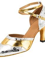 Modern Dance Shoes Women's Latin/Ballroom/Salsa/Tango Dancing Shoes Buckle Stitching Heel Professional Shoe Customizable