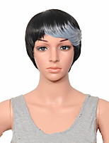Capless Synthetic Wigs Black Grey  Short Straight Women  Layered Hair Wig