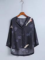 Tee-shirt Femme,Imprimé Sexy simple Chic de Rue Eté Manches Longues Col en V Coton Fin Moyen
