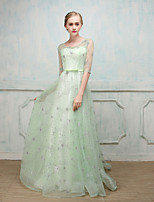 Ball Gown Jewel Neck Sweep / Brush Train Tulle Formal Evening Dress
