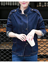 Women's Daily Modern/Comtemporary Fall Denim Jacket,Solid Stand Long Sleeve Regular Cotton Others