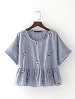 Tee-shirt Femme,Broderie Sexy simple Chic de Rue Eté Manches Courtes Col Arrondi Coton Fin Moyen