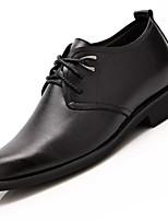 Men's Oxfords Comfort Leather Spring Fall Outdoor Walking Flat Heel Black Under 1in