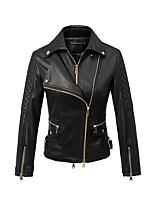 Для женщин На каждый день Весна Кожаные куртки Рубашечный воротник,просто Однотонный Короткие Рукава до локтя