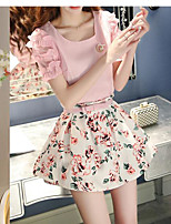 Women's Casual/Daily Cute Summer Blouse,Solid Print Round Neck Short Sleeve Others Thin