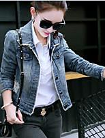 Women's Daily Casual Spring/Fall Denim Jacket,Solid Shirt Collar Long Sleeve Short Elastic Oxford cloth