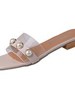 Damen Slippers & Flip-Flops PU Sommer Walking Perle Niedriger Absatz Weiß Schwarz Rot 2,5 - 4,5 cm