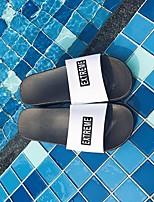 Damen Slippers & Flip-Flops PU Frühling Weiß Schwarz Flach