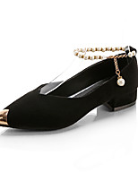 Women's Heels PU Spring Summer Fall Imitation Pearl Low Heel Gold Black Silver Green Khaki Flat