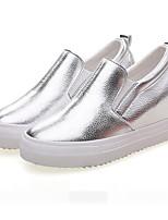 Для женщин Мокасины и Свитер Удобная обувь Искусственное волокно Весна Повседневные Удобная обувь Белый Черный СеребряныйНа плоской