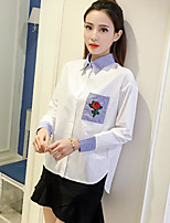 Women's Casual/Daily Simple Shirt,Color Block Stand Long Sleeve Cotton