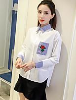 Для женщин На каждый день Рубашка Воротник-стойка,Простое Контрастных цветов Длинный рукав,Хлопок