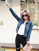 Women's Going out Casual/Daily Party/Cocktail Cute Spring Denim Jacket,Solid Notch Lapel Long Sleeve Short Cotton