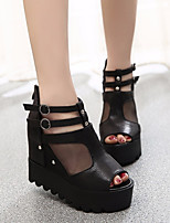 Women's Heels Basic Pump PU Summer Casual Basic Pump Chunky Heel Sliver Black 4in-4 3/4in