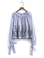 T-shirt Da donna Per uscire Casual Sensuale Semplice Moda città Estate,A strisce Ricamato Rotonda Cotone Manica lungaSottile Medio