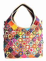 Women Shoulder Bag Cowhide All Seasons Rectangle Floral Split Joint Flower Zipper Black/White Rainbow Black