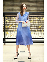 REVIENNE BAY Women's Going out Casual/Daily Cute A Line DressSolid V Neck Midi  Sleeve Silk Spring Summer Mid Rise Inelastic Medium
