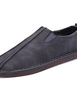 Men's Loafers & Slip-Ons Comfort PU Spring Fall Athletic Comfort Flat Heel Brown Gray Flat