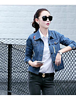 Women's Daily Casual Spring/Fall Denim Jacket,Solid Shirt Collar Long Sleeve Short Oxford