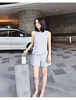 Women's Casual/Daily Simple Summer Blouse Pant Suits,Solid Round Neck Sleeveless Micro-elastic