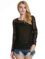 Lztlylzt Women's Daily Casual Sexy Simple Spring Summer T-shirtSolid Round Neck Long Sleeve Polyester Lace