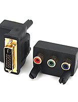 DVI Adapter, DVI to 3RCA Adapter Male - Female 1080P Gold-plated copper 1.0 Gbps