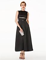 TS Couture Formeller Abend Kleid - Kleines Schwarzes Kleid Promi-Stil A-Linie Schmuck Tee-Länge Satin mit Schleife(n) Kristall Verzierung