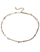 Lureme Sexy Gold Double Chain Crystal Anklet Bracelet Ankle Foot Jewelry Barefoot Beach Anklet