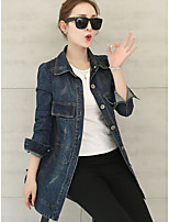 Women's Casual/Daily Simple Spring Denim Jacket,Solid Shirt Collar Long Sleeve Long Linen