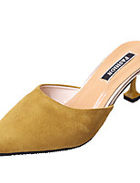 Women's Slippers & Flip-Flops PU Summer Walking Hollow-out Stiletto Heel Black Beige Gray Yellow Ruby 3in-3 3/4in