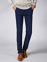 Men's Mid Rise High Elasticity Chinos PantsSimple Slim Solid CR-6626