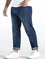 Men's Mid Rise Micro-elastic Straight Jeans PantsSimple Loose Straight Solid YF-6102