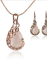 Jewelry Set Pendant Necklaces Bridal Jewelry Sets Imitation Opal Euramerican Fashion Classic Rhinestone Zinc Alloy Drop1 Necklace 1 Pair