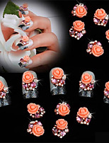 10 pcs Fat Flower Belt drill Flat Bottom DIY Nail Sticking Drill 3D Nail Decoration