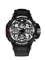SANDA Homens Relógio Esportivo Relógio Militar Relógio Inteligente Relógio de Moda Relógio de Pulso Japanês DigitalLED Dois Fusos