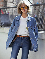 Women's Casual/Daily Simple Spring Summer Denim Jacket,Solid Shirt Collar Long Sleeve Regular Polyester
