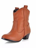 Для женщин Ботинки Полиуретан Осень Зима Черный Кофейный Коричневый На плоской подошве