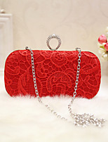 Women Evening Bag Silk All Seasons Wedding Event/Party Party & Evening Club Baguette Magnetic Red