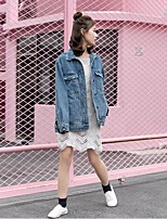 Women's Going out Street chic Spring Fall Denim Jacket,Print Round Neck Long Sleeve Short Cotton