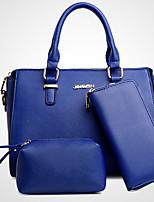 Women Bag Sets PU All Seasons Office & Career Baguette Zipper Fuchsia Gray Black Pool